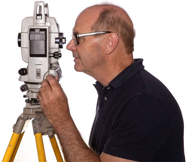 Paul Roggeeman with his surveying tool